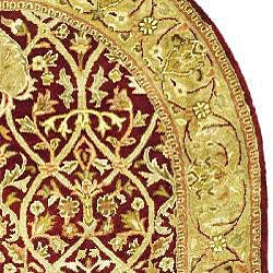 Safavieh Handmade Mahal Red/ Gold New Zealand Wool Rug (8' Round) - Thumbnail 1