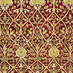 Safavieh Handmade Mahal Red/ Gold New Zealand Wool Rug (8' Round) - Thumbnail 2