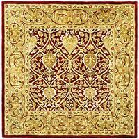 Safavieh Handmade Mahal Red/ Gold New Zealand Wool Rug - 8' x 8' Square