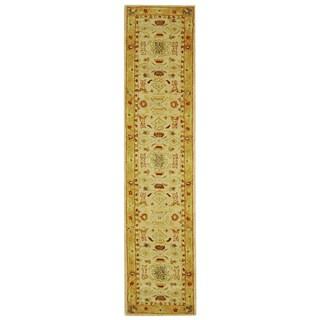 Safavieh Handmade Anatolia Oriental Traditional Ivory/ Gold Hand-spun Wool Runner (2'3 x 16')