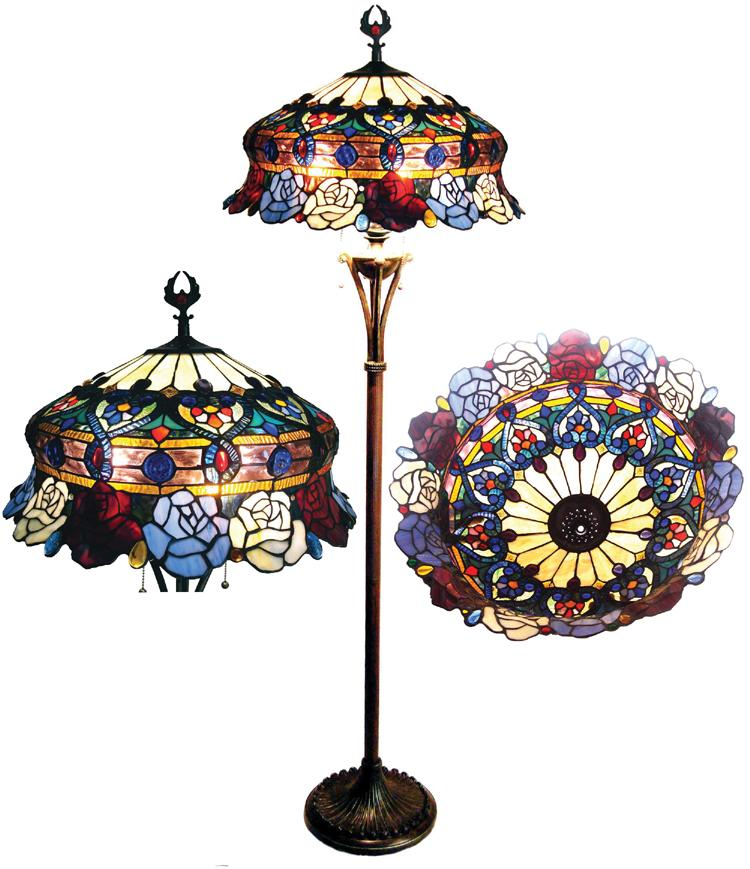Tiffany Style Rose Design 3 Light Bronze Floor Lamp Free