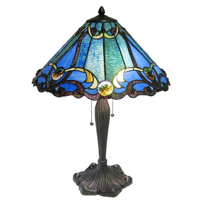 Tiffany-style Victorian 2-light Bronze Table Lamp