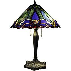 Tiffany-style Victorian 2-light Bronze Table Lamp - Thumbnail 1