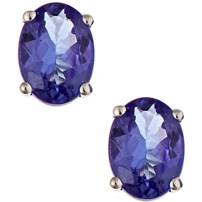 Anika and August 14k White Gold Tanzanite Stud Earrings - Thumbnail 0