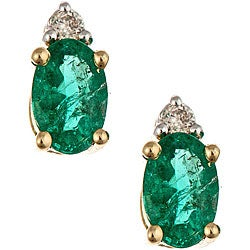 Anika and August 14k Gold Emerald and Diamond Stud Earrings