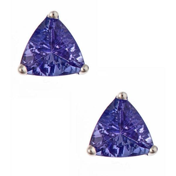 Anika and August 14k White Gold Tanzanite Stud Earrings. Opens flyout.
