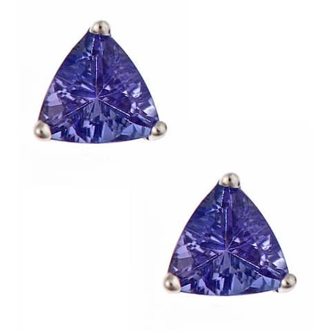 Anika and August 14k White Gold Tanzanite Stud Earrings