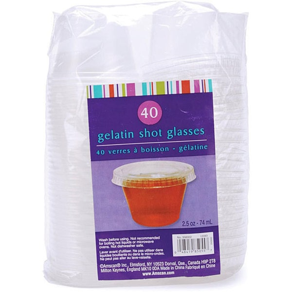 Gelatin Clear Plastic 2.5-oz Shot Glasses (Pack of 40)