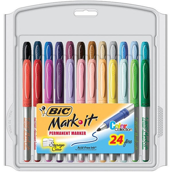 Bic Mark-it Color Fine Point Permanent Markers (Package of 24)