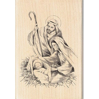 Inkadinkado Nativity Wood-mounted Rubber Stamp