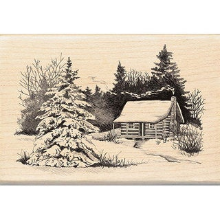 Inkadinkado Snowy Cabin Wood-mounted Rubber Stamp