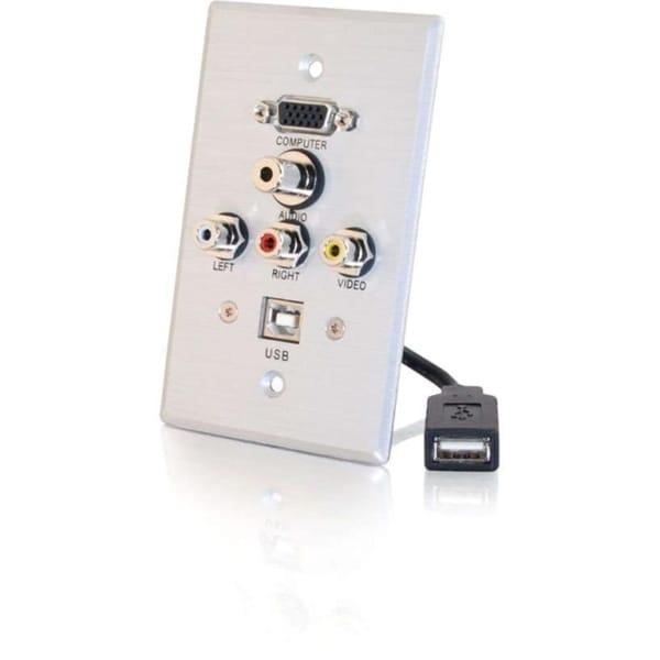 C2G Single Gang HD15 + 3.5mm + RCA A/V + USB Wall Plate - Brushed Alu