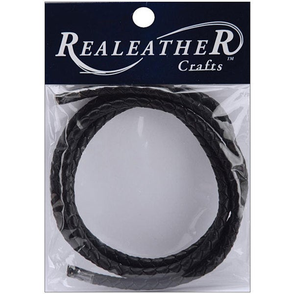 Silver Creek Realeather 24-inch Round Braided Black Leather Cord