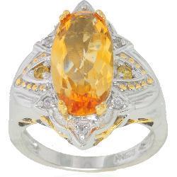 Michael Valitutti Silver/ Palladium/ 18k Vermeil Citrine/ Sapphire Ring