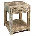 Handmade Stripped Teak End Table (India)
