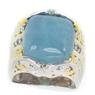 Michael Valitutti Silver/Palladium/18k Vermeil Green Aquamarine/Sapphire Ring