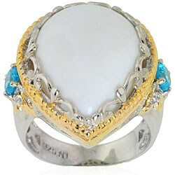 Michael Valitutti Silver/ Vermeil Opal/ Sapphire/ Cubic Zirconia Ring