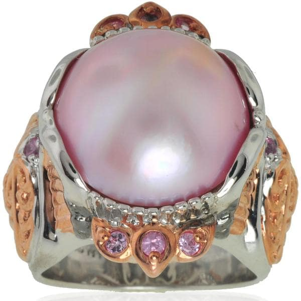 Michael Valitutti Silver/ Palladium/ 18k Vermeil Mabe Pearl Ring (15 mm)