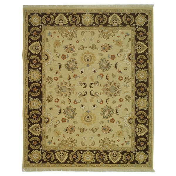 Indo Sumak Handmade Heirloom Ivory/ Brown Rug - Ivory/Brown - 10' x 14'