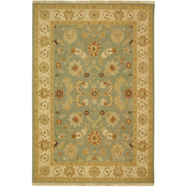 Indo Sumak Handmade Majesty Light Blue/ Beige Rug (4' x 6') - Thumbnail 0