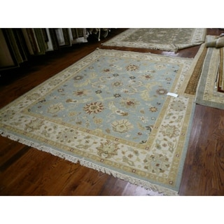 Indo Sumak Handmade Majesty Light Blue/ Beige Rug (9' x 12')