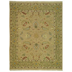Indo Sumak Handmade Treasure Taupe/ Green Rug (4' x 6')