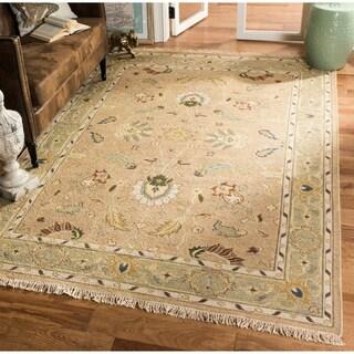 Handmade Indo Sumak Flatweave Treasure Taupe/ Green Wool Rug (9' x 12')