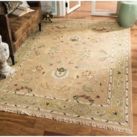 Handmade Safavieh Couture Sumak Flatweave Taupe/ Green Wool Area Rug - 9' x 12' (India)