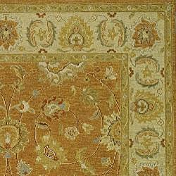 Indo Sumak Handmade Flatweave Dark Gold/ Ivory Rug (4' x 6') - Thumbnail 1