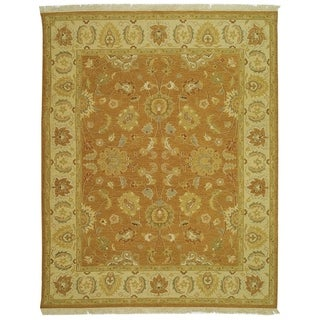 Indo Sumak Handmade Flatweave Dark Gold/ Ivory Rug (4' x 6')