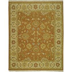 Indo Sumak Handmade Flatweave Dark Gold/ Ivory Rug (6' x 9')