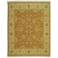Handmade Safavieh Couture Sumak Flatweave Gold/ Ivory Wool Area Rug (India)
