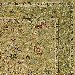 Indo Sumak Handmade Treasure Taupe/ Green Rug (10' x 14') - Thumbnail 1