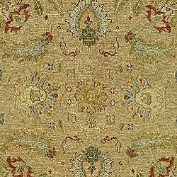 Indo Sumak Handmade Treasure Taupe/ Green Rug (10' x 14') - Thumbnail 2