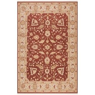 Indo Handmade Sumak Flatweave Foli Red/ Beige Wool Rug (8' x 10')