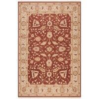 Indo Handmade Sumak Flatweave Foli Red/ Beige Wool Rug - 8' x 10'