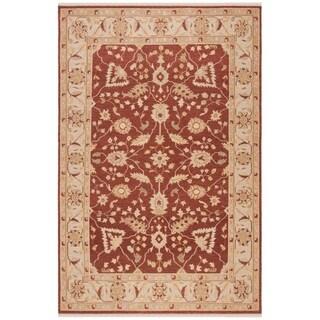 Indo Handmade Sumak Flatweave Foli Red/ Beige Wool Rug (9' x 12')