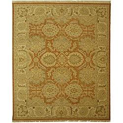 Indo Sumak Flatweave Ancestry Rust/ Beige Wool Rug (6' x 9')