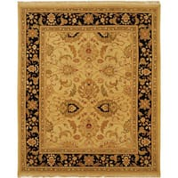Handmade Safavieh Couture Sumak Flatweave Light Gold/ Black Wool Area Rug - 6' x 9' (India)