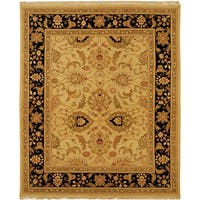 Handmade Safavieh Couture Sumak Flatweave Light Gold/ Black Wool Area Rug - 9' x 12' (India)