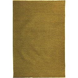 Indo Sumak Flatweave Solid Olive Rug (8' x 10')