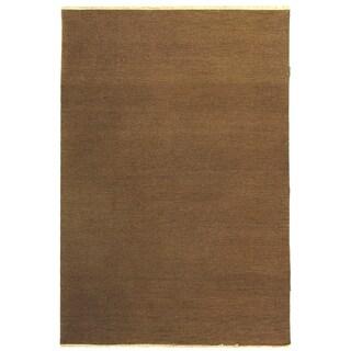 Indo Handmade Sumak Flatweave Brown Rug (10' x 14')