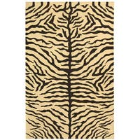 Safavieh Couture Sumak Handmade Flatweave Ivory/ Black Zebra Print Wool Area Rug (4' x 6')