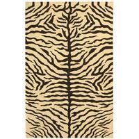 Safavieh Couture Sumak Handmade Flatweave Ivory/ Black Zebra Print Wool Area Rug (9' x 12')