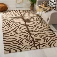 Safavieh Couture Sumak Handmade Flatweave Ivory/ Brown Zebra Print Wool Area Rug - 8' x 10'