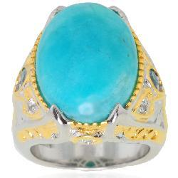 Michael Valitutti Palladium/ Silver/ 18k Vermeil Amazonite and Blue Zircon Ring