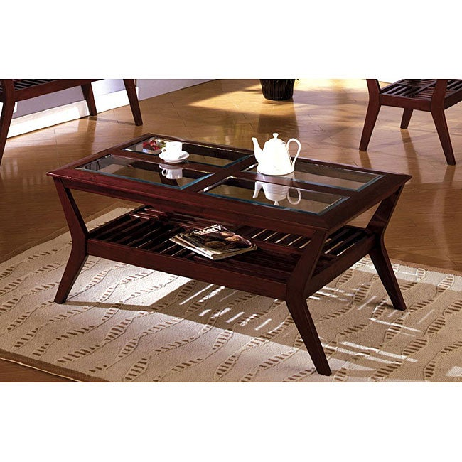 Cherry Wood Coffee Table With Glass Top