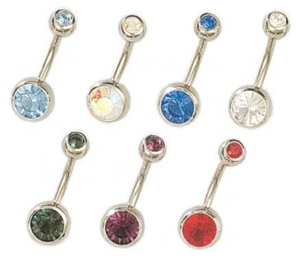 Jewelry Trends Stainless Steel Double jeweled Barbell Belly Ring