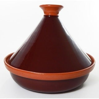 Handmade 12-inch Brown Cookable Tagine (Tunisia)