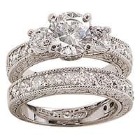 NEXTE Jewelry White Rhodium Overlay Cubic Zirconia Bridal-inspired Ring Set